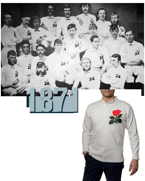 réplique du maillot porté par l'équipe d'Angleterre de rugby en 1871