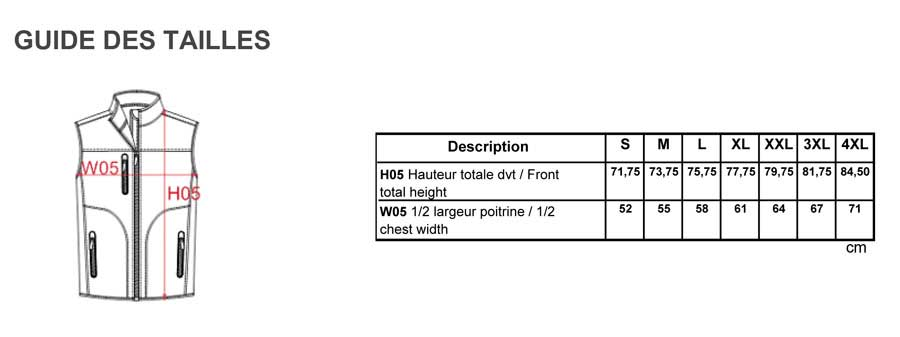 Guide taille Veste Softshell K417