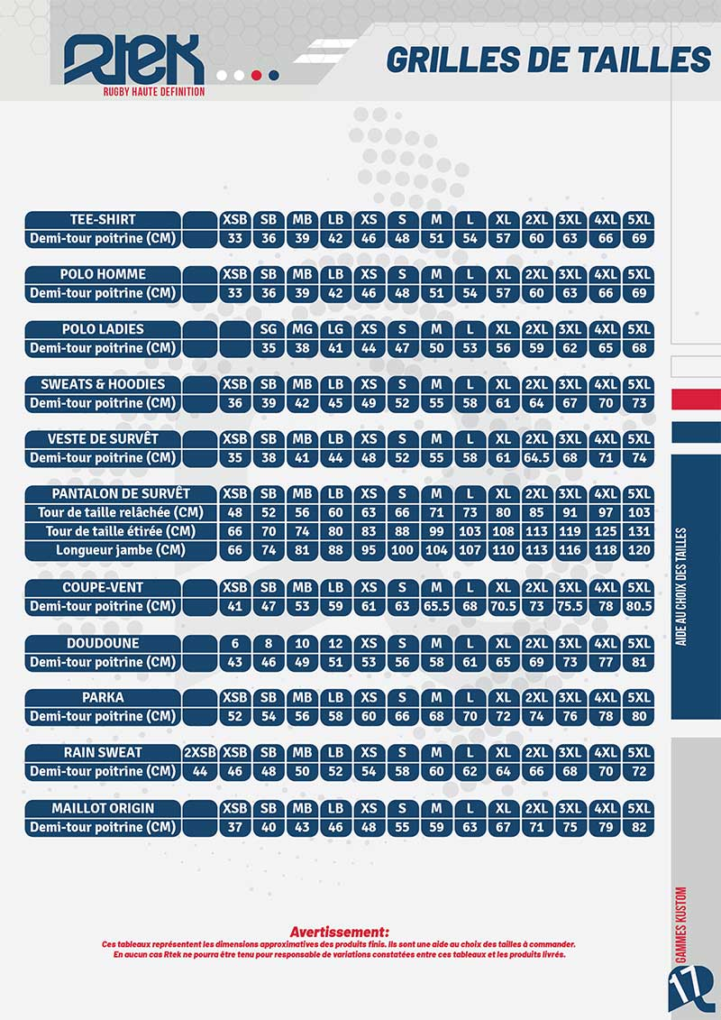 Guide des tailles catalogue Custom RTEK