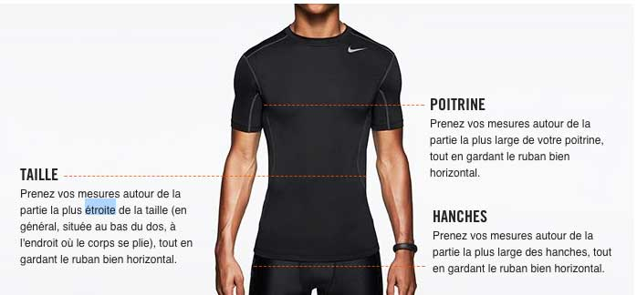 Correspondance des tailles Senior Nike