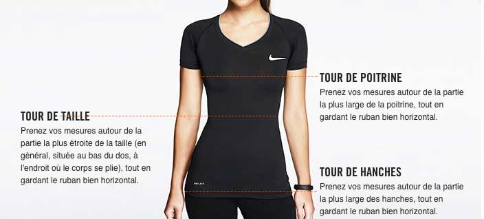 Correspondance tailles femmes Nike