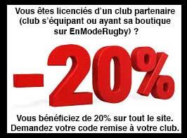 20% de remise sur toute votre boutique de rugby