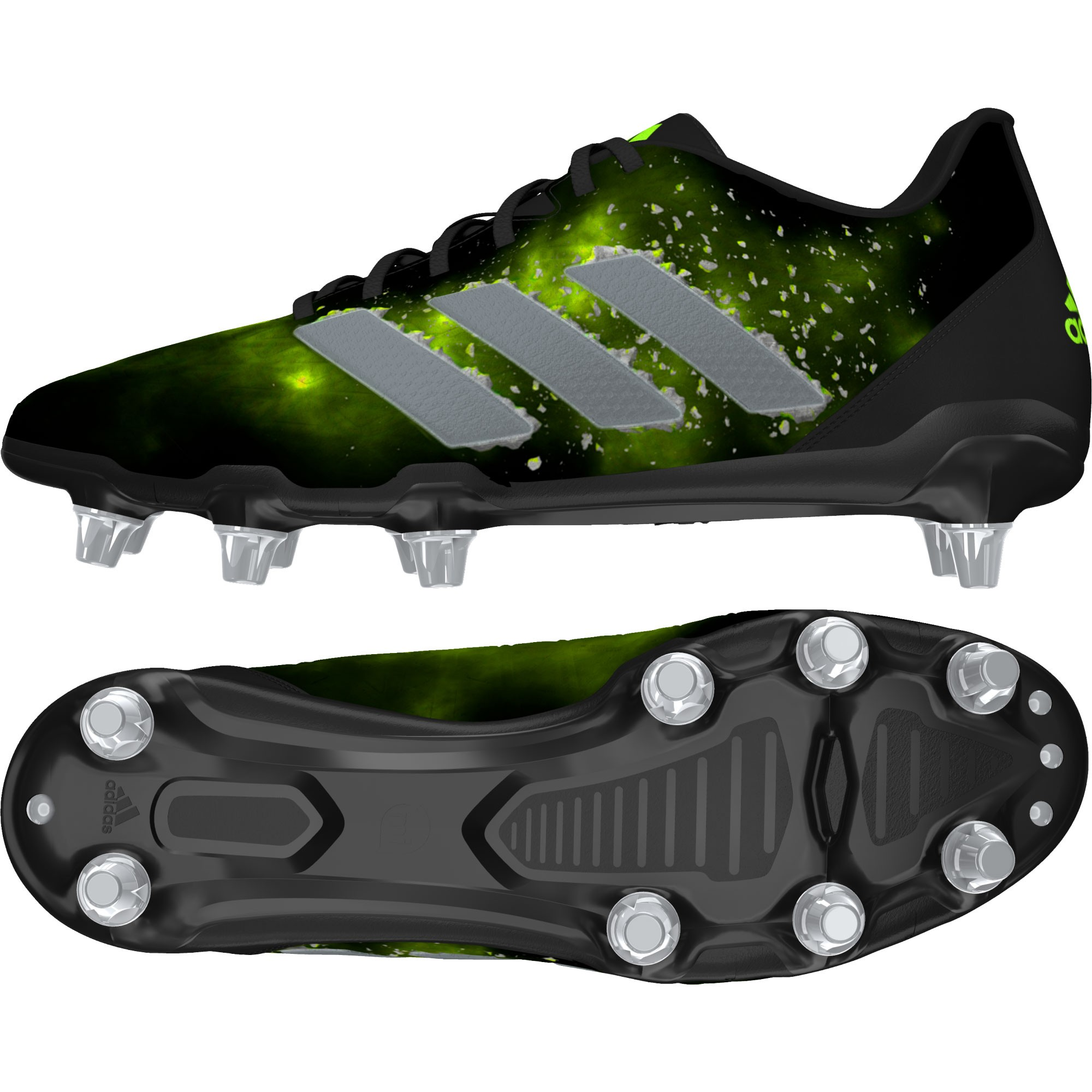 check out 0709b b7761 Chaussures Rugby Kakari Elite SG 8 crampons Noir-Vert  adidas ...