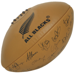 Ballon Rugby en Cuir Signatures All-Blacks / Gilbert