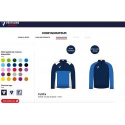Sweat de pluie 1/4 zip FLOTA personnalisable / Vestiaire du Sport