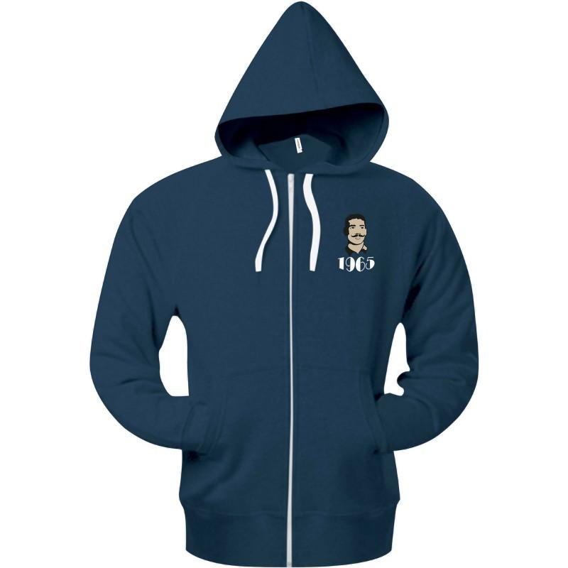 Sweat à capuche zippé bleu chiné / Millésime Rugby