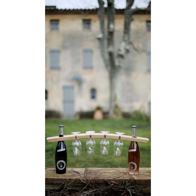 Présentoir 4 verres - 2 bouteilles / Millésime Rugby