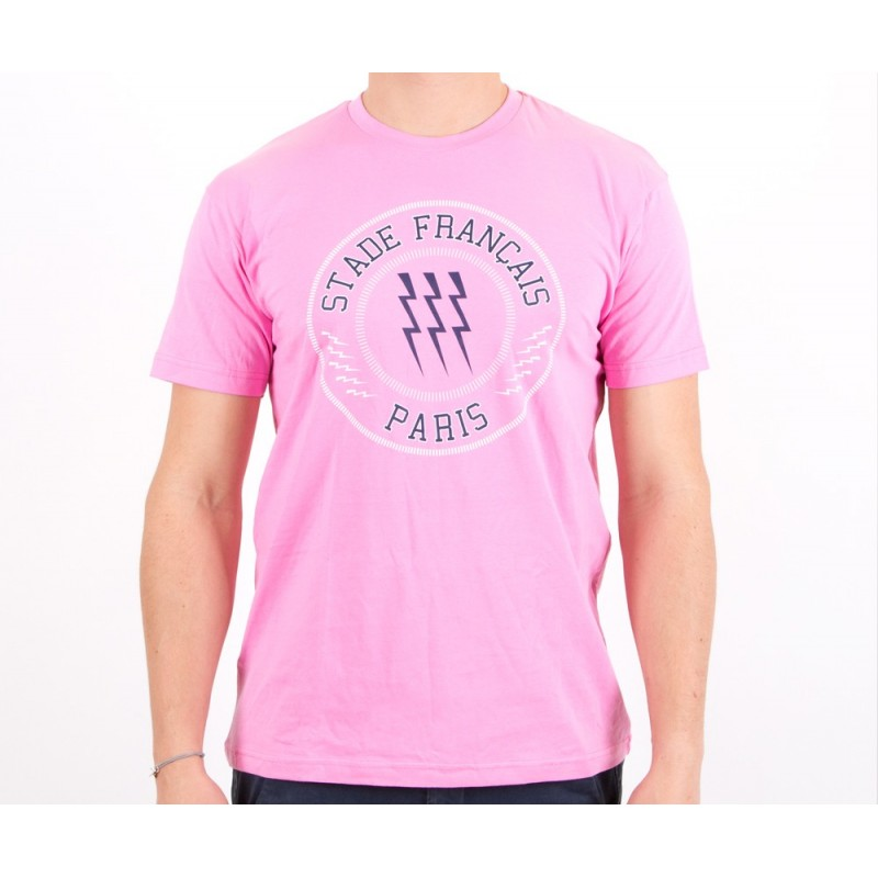 T-shirt rose 3 éclairs adulte / Stade Français