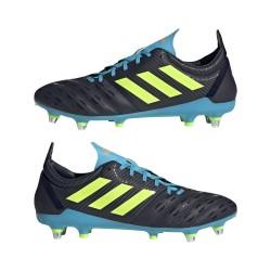 Bota de rugby Malice césped natural húmedo Azul-Negro / Adidas