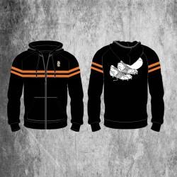 Sweat à capuche zippé noir & orange / Millésime Rugby