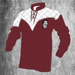 Maillot rugby vintage bordeaux à lacets / Millésime Rugby