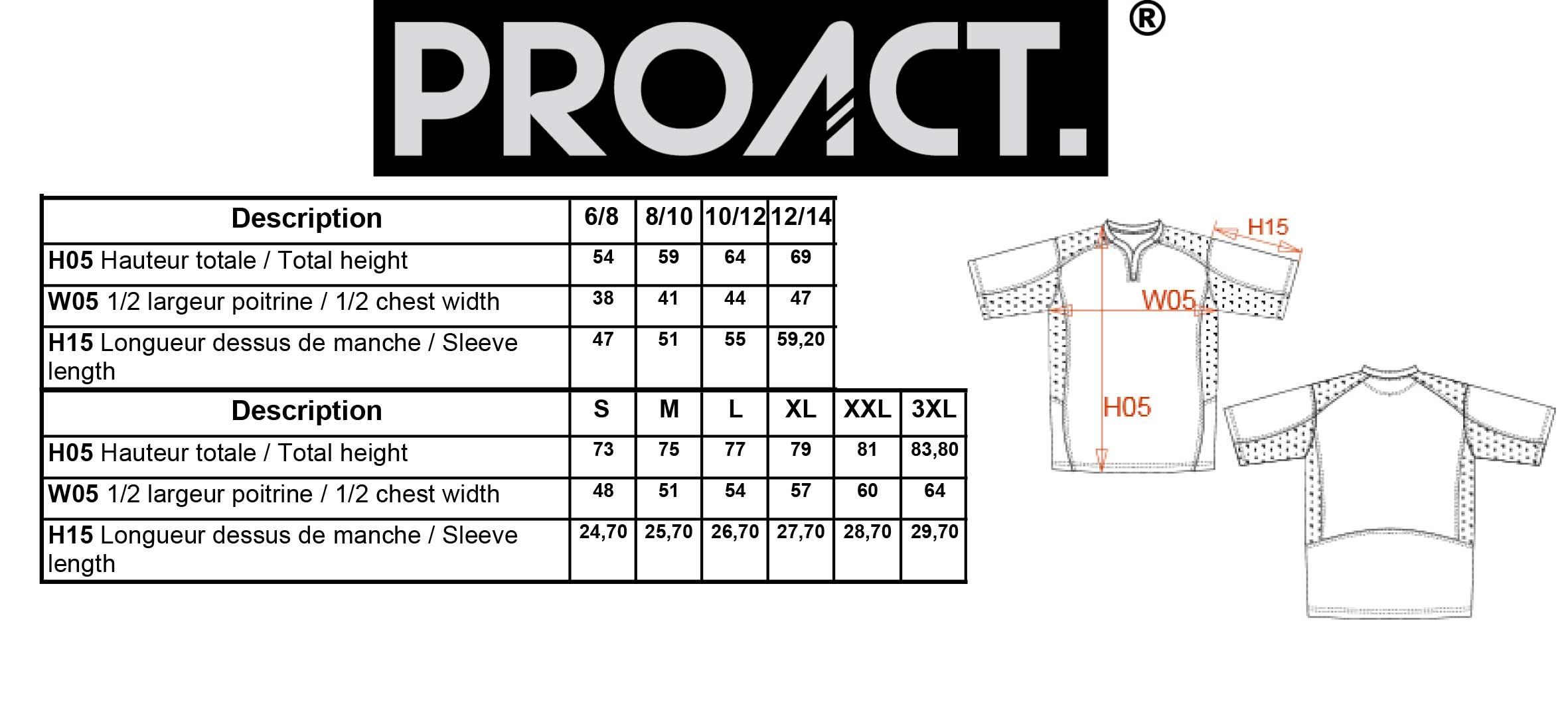 Correspondance de taille pour les maillots Proact
