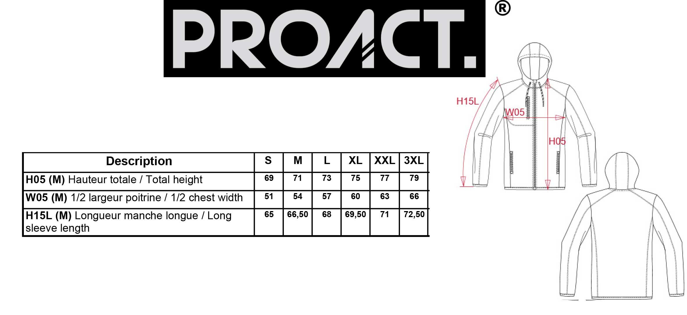 Guide des tailles pour choisir sa veste proact