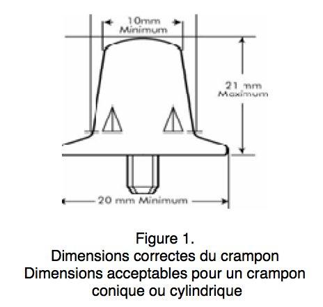 Dimensions Crampon alu de rugby