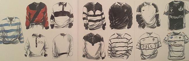 Evolution du maillot de rugby du club de Brive
