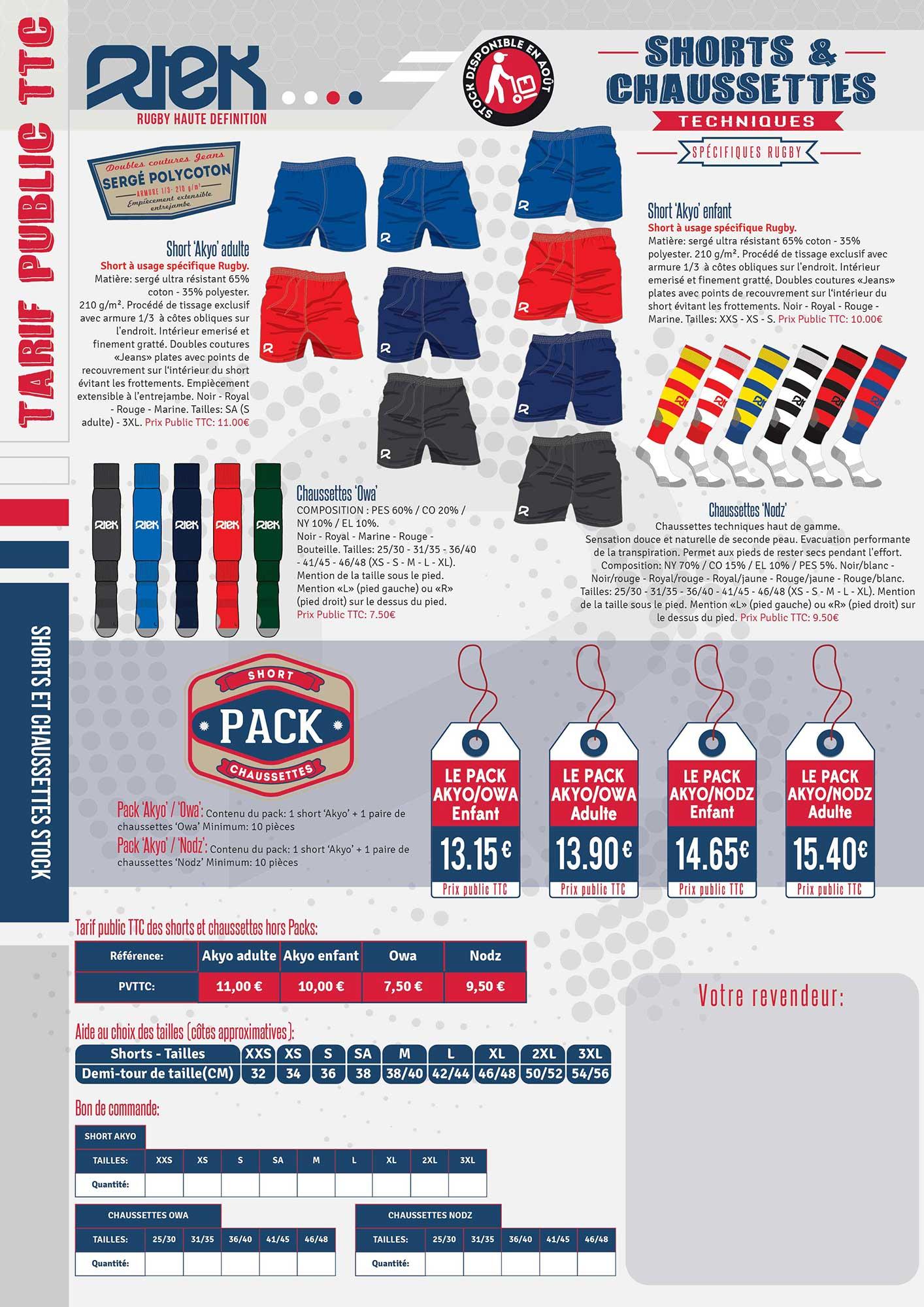 Pack Short/Chaussettes rugby pas cher RTEK